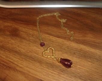 vintage necklace goldtone chain purple lucite bead drop avon