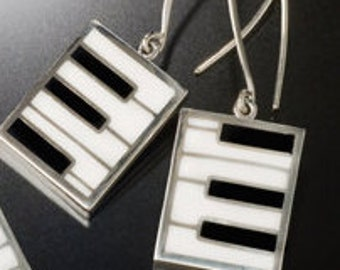 Silver Earrings Piano Key Dangle white and black handmade jewelry New Orleans recycled fun