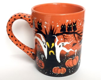 Halloween Coffee Mug - Pumpkin Patch - Haunted Forest - Halloween Art - Ghosts - Owls - Pumpkins - jack o lanterns - Hand painted