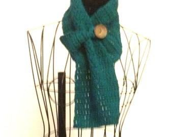Crochet Buttoned Scarf Crochet Big Button Scarf Short Crochet Scarf
