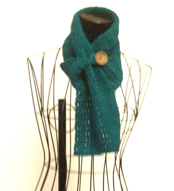 Crochet Buttoned Scarf Crochet Big Button Scarf Short Crochet Scarf
