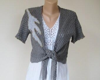 Vintage gray green cropped jacket, rustic lace vest, tricot acrylic bolero, short sleeve women cardigan, machine knit wrap,  M L US 10 UK 12