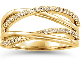 1/2CT Diamond Criss Cross Ring 14K Yellow Gold