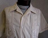 60s XL Romani Guayabera Men's S/S Shirt Beige