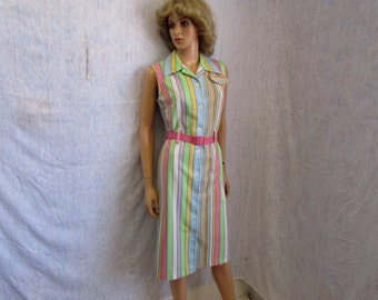 60s L Harold Williams Shift Polyester Knit Summer Sun DRESS Sleeveless Pink Striped
