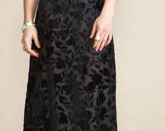 Adorable Vintage 80's Sheer Burnout Black Silk Velvet Dress  - M