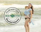Recycled Beachfront Baby Wrap made with Repreve®- water babywearing at the beach, pool, water park or in the shower- SKY BLUE mesh