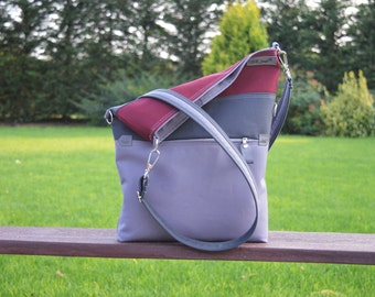 Striped Messenger tote, grey burgundy canvas cross body, Convertible bag, Women laptop carrier, Unique gift for College studetns