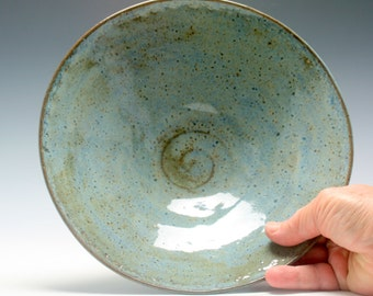 Rustic Ceramic Serving Bowl in shades of Blue and Brown with carved Texture/Ceramics and Pottery