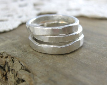 Simple Hammered Stacking Ring //Custom// Fine Silver // Eco Friendly // Wedding Band // Hammered Ring