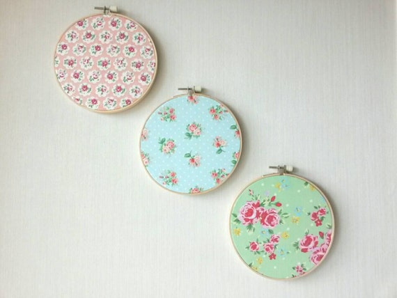 Shabby Chic Fabric Hoop Art, Peach Green and Blue Wall Decor - Set of 3 hoops