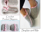 Ribbed Slipper Pocket Socks - Crochet Pattern - Kuschelige Slipper-Socken - Instant Download Pdf