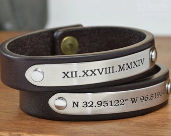 Personalized Leather Bracelets - Perfect Valentines Boyfriend or Girlfriend Gift- Handcrafted in USA