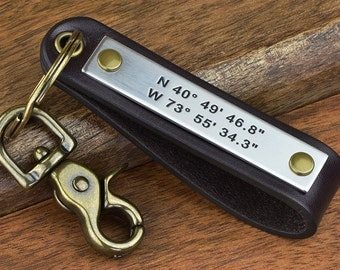 Mens Personalized Leather Keychain GPS Custom Coordinates Leather Key Chain, ANY TEXT 40 Char - Great gift for Closing Gifts, Client Gifts