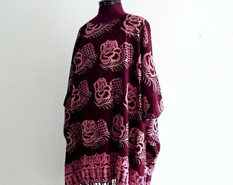 Hippie Floral-Print Caftan Fringe trim Free Size Ethical Fashion