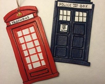 Telephone Booth or Police Box Leather Ornament/Gift Tag