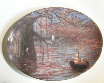 """Winnie The Pooh """"Autumn Comes to The Woods"""" Collectible Disney Artwork // Peter Ellenshaw // Porcelain Goebel"""