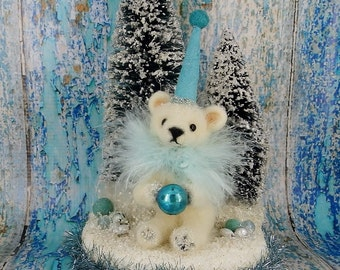 "Polar Bear Icy blue wool needle felted teddy bear cub 10""  mercury glass German inspired bottle brush trees - Parker #3"