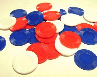 34 Vintage Hard Plastic Game Pieces - Round Tiddly Winks - Mini Poker Chips Destash - Red White Blue