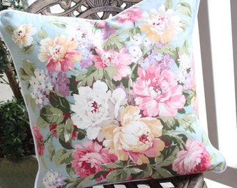 Pink Cabbage Rose and Lilac Floral Vintage Robin's Egg Blue Fabric Pillow Cushion ~ LAST ONE
