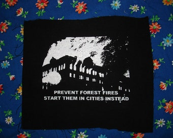 Prevent forest fires BURN CITIES INSTEAD patch funny environmentally sound