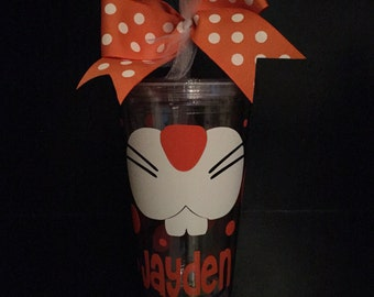 Bunny Face Personalized Tumbler-Teacher Gift-Monogrammed Tumbler-Easter Cup-Easter Tumbler