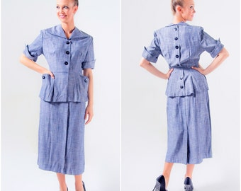 1940's Suit/ 40's Blue 2 Piece Jacket and Skirt WWII Forties Manford Medium