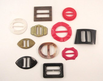 Vintage Dress Buckles Instant Collection Celluloid Bakelite Abalone Metal