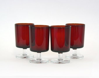 Vintage Red & Clear Glass Pedestal Tumblers, Set of 4 (E6250)