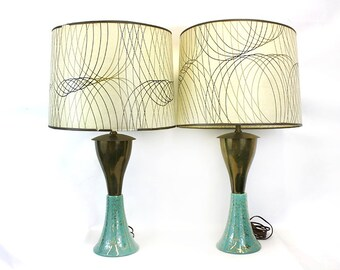 Vintage Blue and Gold Mid Century Lamps with Fiberglass Shades, Set of 2 (E6285)