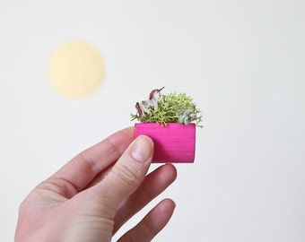 Unicorn Wooden Planter with Magnet and moss