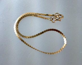 10k bracelet. 10kt Serpentine Chain Bracelet. 7 Inch No.001705 hs