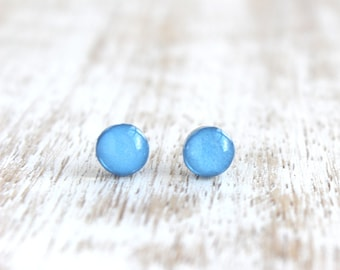 Very Berry Itty Bitty Dots Stud Earrings - Light Blue - Hypoallergenic Surgical Stainless Steel Post Earrings