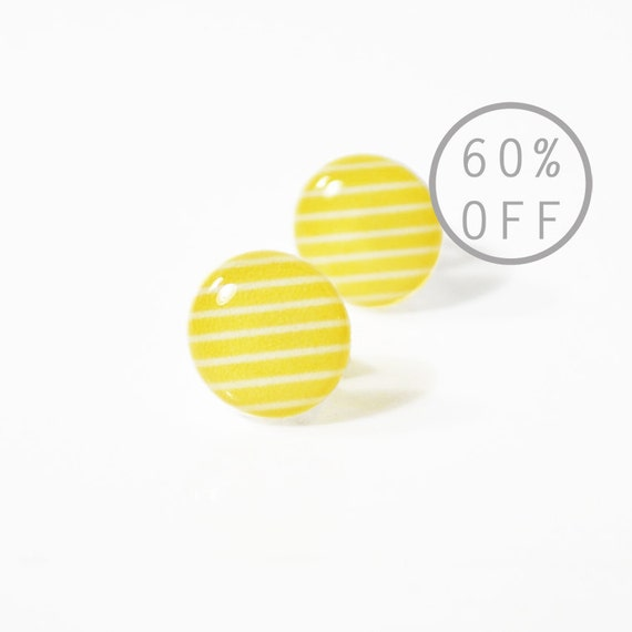 ON SALE - Lucky Lemon Ivy League Stripe Post Earrings - Surgical Stainless Steel Posts - Yellow and White