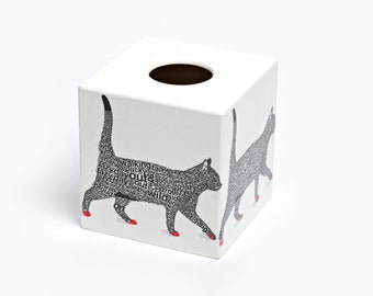Black Cat Tissue Box Cover wooden handmade