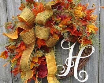 Fall Door Wreath, Autumn / Fall Wreath, Fall Wreath for Door, Bright Autumn Fern Wreath, Fall Door Wreath, GreenBurlap Open Weave, Gold Bow