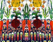 "Summer Sun on Garden  - 5"" x 7"" art Fabric  custom printed  from original batik"