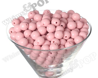 12mm - Pastel Pink Gumball Beads, 12mm Gumball Beads, 12mm Beads, Small Gumball Beads, Opaque Acrylic Round Beads, 2mm Hole