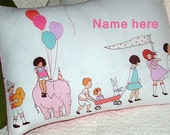 PILLOW Cover 16 x 12  Kids on PARADE Border Print CHILDREN at Play Print ....Embroidery available