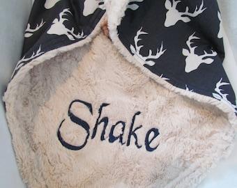 "Personalized Minky baby blanket- 30"" x 36""- Buck head minky blanket- Buck minky toddler blanket- minky baby blanket-Buck minky baby bedding-"