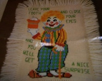 Clown Toothfairy Pillow Needlepoint Kit: Comes with Fabric, Yarn, Needle & Direc