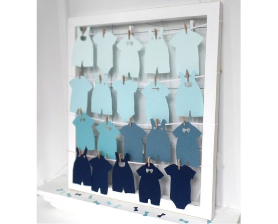 Baby shower onesie paper cutouts outfit clothes line for Baby clothesline decoration baby shower