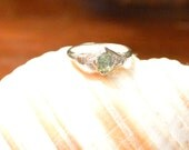 SALE Vintage Tourmaline Solitaire Ring, 1900's 18K White Gold, Vintage Solitaire Ring, Ring size 7.5