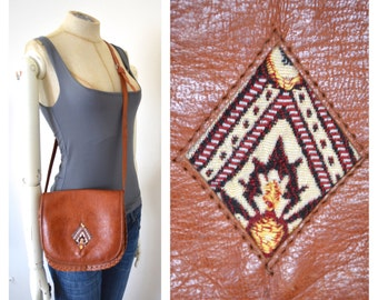 Vintage Genuine Leather and Woven Tapestry Cross Body Purse Ethnic Country Western Style Bohemian Gypsy Desert Festival Wanderlust Style