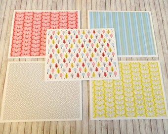 Blank Note Cards, Note Card Set, Blank Cards, Thank You Notes, Stationary, Set of 5 Note Cards with Matching Envelopes, Springtime Whimsy