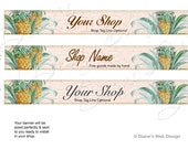 Pineapple Etsy Banner - You pick 1 of 3 Designs - Customized with Your Shop Name