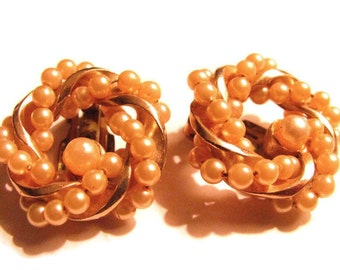 Early BARCLAY circle wreath glass pearl clip earrings- PERFECT