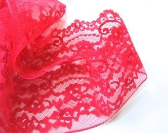 5 yards 3-inch Wide Bright Red Lace