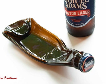 NEW Beer Bottle Spoonrest, made from a Samuel Adams Beer Bottle, Cigar Tray, Key Bowl, Upcycled Gift, Dessin Creations