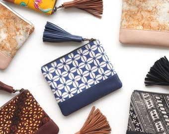 Batik Fabric Pouch. Tropical Fabric Print. Leather Coin Purse. Zipper Coin Pouch. Leather Card Holder. Leather Cash Wallet. Gift For Women.